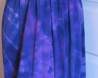 Bellflower cotton maxi dress with plunging cross over neckline Hand Dyed,  One Size