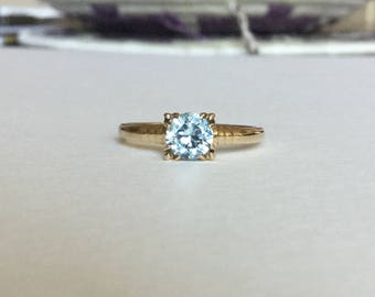 Natural blue ZIRCON ring 10k gold by Baden and Foss