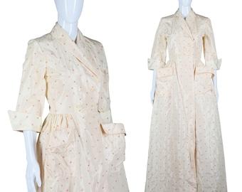 Embroidered Rose Dress Full Length House Dress Glam 40s Dress 1940s Maxi Dress Rolled Cuffs Large Pockets Hostess Dress