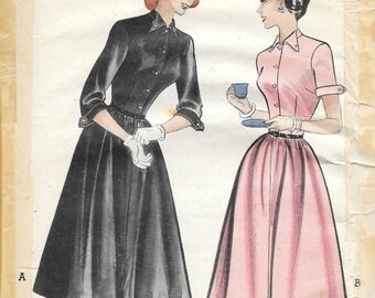 Butterick 5900 1950s Susie Stephens Casual Front Button Dresss with Cuffed Sleeves Vintage Sewing Pattern Size 11 Bust 29