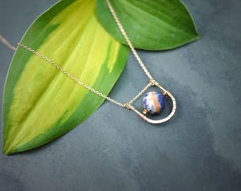 Minimal Rose Gold Fill Hematite and Sodalite Necklace
