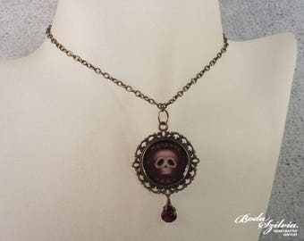 Memento mori brass and garnet necklace - victorian pendant with original miniature skull painting - gothic mourning jewelry
