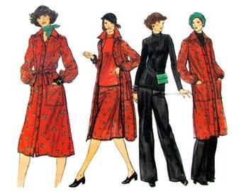 70s Shirt Dress, Top, Skirt & Pants Pattern Vogue 9571 Button Front Dress Long Sleeves Womens Size 12 Vintage Sewing Pattern UNCUT