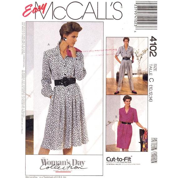 80s Dress & Jumpsuit Pattern McCalls 4102 Button Front Notched Collar Size 10 12 14
