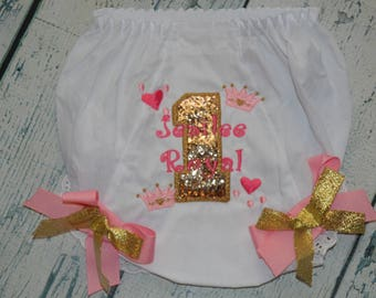 Personalized Birthday Bloomers Princess Tiara Hearts and Sparkle, Pink & Gold Monogram diaper Cover