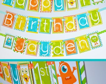 Monsters Birthday Party Decorations Banner | Monsters Theme | Monster Party Banner | Our Little Monster | First Birthday |