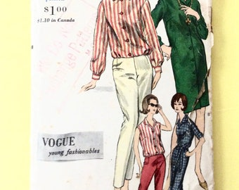 1960's Vogue 5535 Young Fashionables Shirtdress, shirt and Reversible Pants Vintage Sewing Pattern  Bust 32 Hip 34 inches