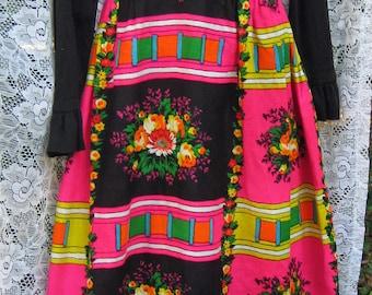 POINSETTIA PINK 1960s 60s folk art maxi dress for Christamas time, New Years, Black topped Vibrant Bold hippie Mad Men  Folk Rocker dress