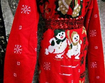 Plus size Christmas sweater or for some a MINI SWEATER dress w/ Gold Jingle Bells and Snowman, Snowflakes Wreath Holly Poinsettias Dress,