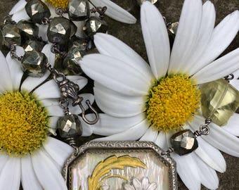 Antique Daisy Intaglio Brooch Necklace