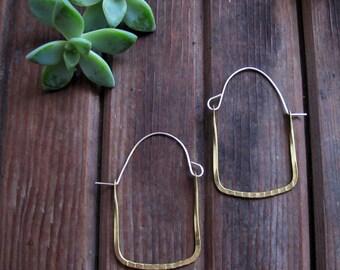Frame Hoops - Brass Hoop Earrings - Square Hoop Earrings - Artisan Tangleweeds Jewelry