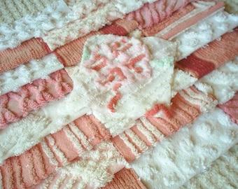 Vintage CHenille Squares-Pretty- 24-6 inch blocks