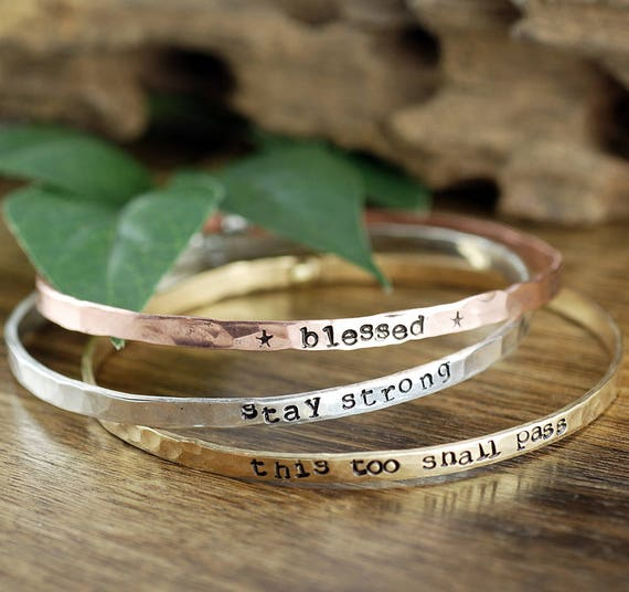 Inspirational Bracelet, Stackable Bangle Bracelets, Personalized Bangle Bracelet, Gift for Mom, Custom Bangle Bracelet, Mothers Bracele
