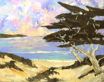 Impressionist Painting Plein Air Landscape CALIFORNIA Carmel Dunes Monterey Bay Ocean Seascape Lynne French 16x20