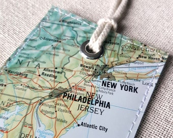 Washington DC, New York City & Philadelphia luggage tag made with original vintage map