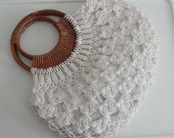 60s White Macrame Cotton/Wicker Handle Purse Bag Vintage