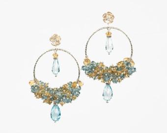 Blue Topaz and Citrine Gemstone Earrings