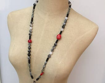 Handmade long black and red necklace / shell pendant / quartz and coral necklace