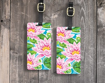 Luggage Tag Water Lily  Metal Luggage Tags With Printed Custom Info On Back, Single Tag or Set Available