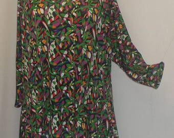 Plus Size Top, Coco and Juan, Lagenlook, Plus Size Tunic, Green Yellow Print, Knit Drape Side, Tunic Top, One Size, Bust  to 60 inches
