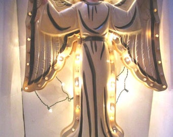 Large Vintage Christmas Angel, Hard Plastic, Nativity Scene, Outdoor Manger Display,, Church Display, 2D, Uses a strand of twinkle lights