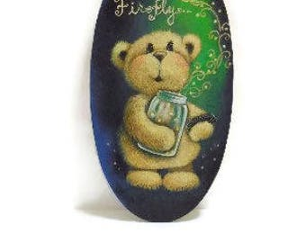 Hand Painted Bear Plaque | Dance Little Firefly Oval Plaque | Teddy With Jar of Fireflies
