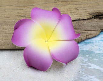 Flower Hair Clip,  Plumeria, Hawaii Hair Clip, Floral Hair Clips, Purple Flower Hair Clip