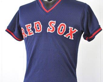 Vintage Red Sox Jersey Mesh 80s Boston VNeck Ringer Red Navy Blue MEDIUM