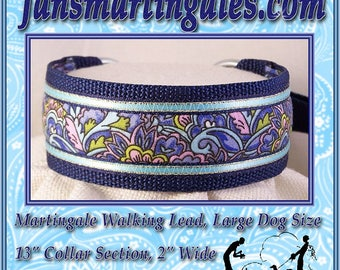 Jansmartingales, Blue Walking Lead, Dog Collar and Lead Combination, Greyhound, Large Dog Size, Nvy105