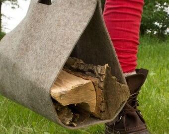"Wool Felt Fire Wood Carry Bag - Natural Gray, 15"" x 15"", Firewood Carrier, Felt Carry Bag, Carrying Bag, Felt Bag, Utility Bag"