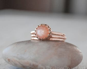 Rose Gold Peach Moonstone Ring Set in 14k Rose Gold-Filled - Moonstone Ring with Two Bands Ring Set - Handcrafted Artisan Ring