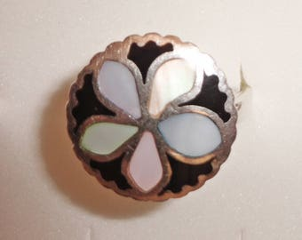 Sterling Silver Mother of Pearl Flower Mexico Ring size 10