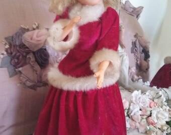 vintage christmas doll, christmas toys, christmas gift, blue eyes, victorian fake fur trim, pretty winter doll