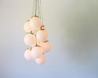 Globe Bubble Chandelier Lighting Fixture, 10 Hanging White Glass Orb Clustered Pendants, Modern Lighting & Home Decor