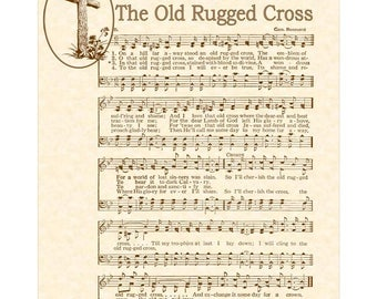 OLD RUGGED CROSS - Christian Home & Office Decor- Special Size- Vintage Verses Sheet Music Wall Art Antique Hymn Wall Art Inspirational Sale