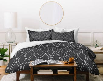 Black Duvet Cover // Modern Geometric Design // Twin, Queen, King Sizes // Bedding // Home Decor // Fuge Slate Design // Black & White