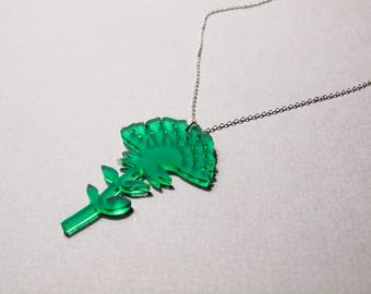 Large Emerald Green Flower Necklace - Nature - Birthday Present
