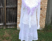 Altered Women's nylon lace blouse, white and Lilac Lace Tunic, Small/ Medium, Ruffled Lace bottom and top, Shabby Chic, romantic dress