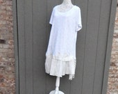 Altered Women's Sheer Off-White Cotton Lace Tunic/Dress , Altered Couture,  Size 22/24 Tunic, Shabby Chic, Romantic Blouse, Feminine Top