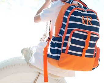 Monogrammed Navy and Orange Striped Line-Up Backpack for Boys; Back to School
