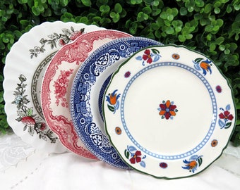 """Set of 4 Vintage Mismatched Ironstone China 7"""" Dessert Cake Salad Plates Colorful Blues, Pinks and Deep Red SP51"""