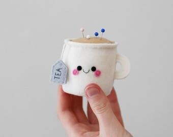 White Teacup Pincushion, Felt Pincushion, 3D Tea, Kawaii British Accessory