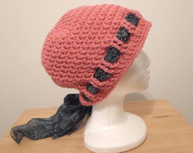Crochet Hat - Crochet Cap in Pink Acrylic Yarn - Chemo Cap - Slouchy Hat
