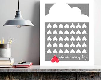 I Love A Rainy Day, rain print, minimalist art, April showers, stormy weather, gray wall art, spring rain, gray home decor, heart wall art