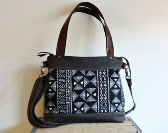 Waxed Canvas Tote messenger crossover handbag bag Leather trim 5 Pockets - Ready to Ship-