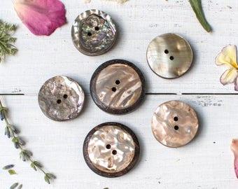 Wood Shell Buttons, 6 pcs, Mixed Shape,  Wood  Button, Wood Badge, Bag  Buttons -BN114