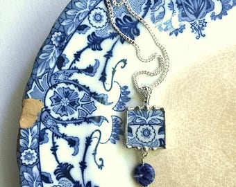 Broken china jewelry, necklace pendant, antique aesthetic Victorian Flow Blue transferware, blue sodalite bead, recycled china