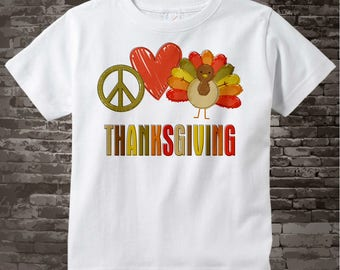 Peace Love Thanksgiving Personalized Turkey Shirt or Onesie with your child's name or any word 09262011c
