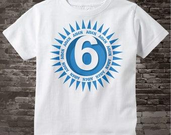 Birthday Shirt, Six Year Old Birthday, Blue Birthday Shirt, Personalized Birthday Boy Circle Design Tee 07012014c