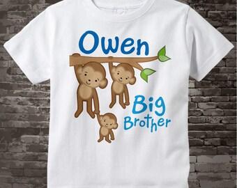 Boy's Big Brother Monkey shirt or Onesie with three monkeys 10202011z